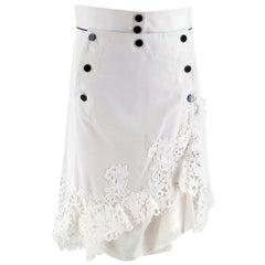 Sacai Guipure lace-trimmed cotton and silk-blend skirt JPN 2