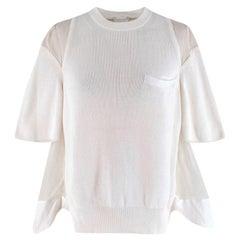Sacai Ivory Knit & Muslin Short Sleeve Top - Size XXS