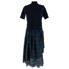Sacai Knitted Navy Tartan Asymmetric Dress M