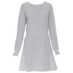 SACAI light grey dual pocket flared skirt casual oversized sweater dress JP3 L