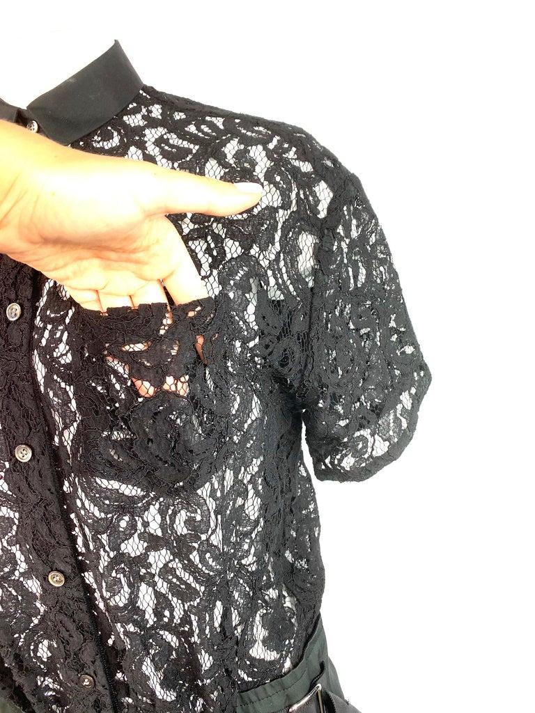 Sacai Luck Black Floral Lace Button- Down Shirt Wrap Mini Dress Size 3 For Sale 6
