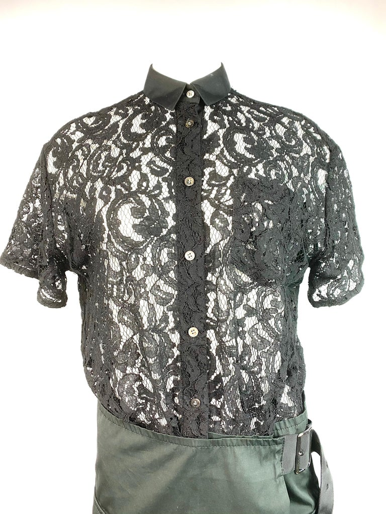 """Sacai Luck Black Floral Lace Button- Down Shirt Wrap Mini Dress Size 3  Product details: Size 3 Button- down top with collar and side pocket detail Short sleeves Featuring adjustable belt detail Waist measures from 30"""" to 40"""" Hips measure from 36"""""""