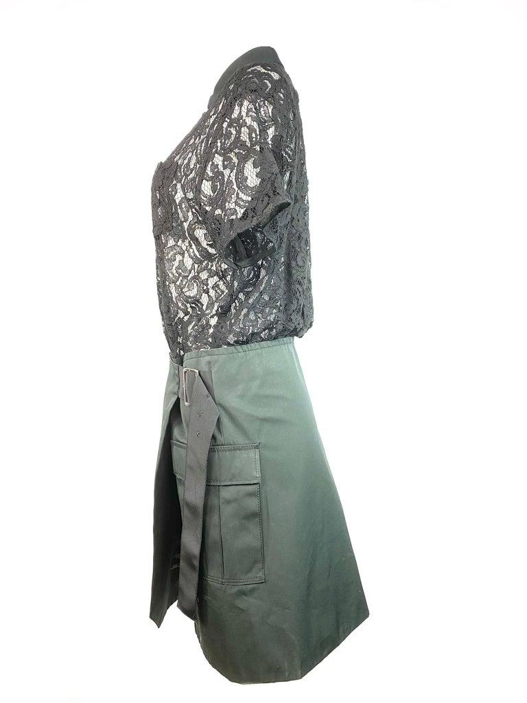 Women's Sacai Luck Black Floral Lace Button- Down Shirt Wrap Mini Dress Size 3 For Sale