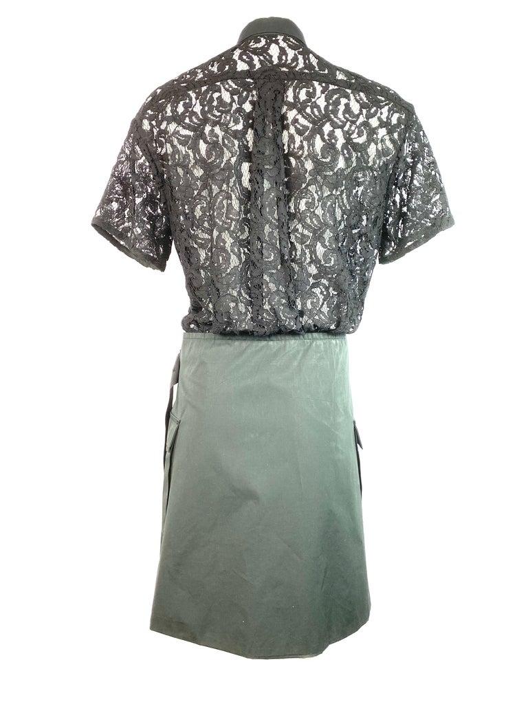 Sacai Luck Black Floral Lace Button- Down Shirt Wrap Mini Dress Size 3 For Sale 1