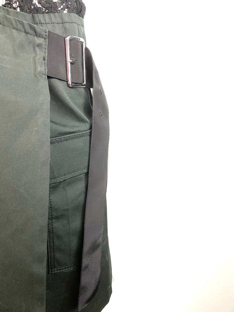 Sacai Luck Black Floral Lace Button- Down Shirt Wrap Mini Dress Size 3 For Sale 3