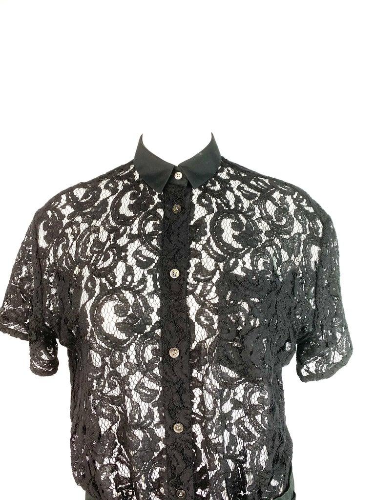 Sacai Luck Black Floral Lace Button- Down Shirt Wrap Mini Dress Size 3 For Sale 4