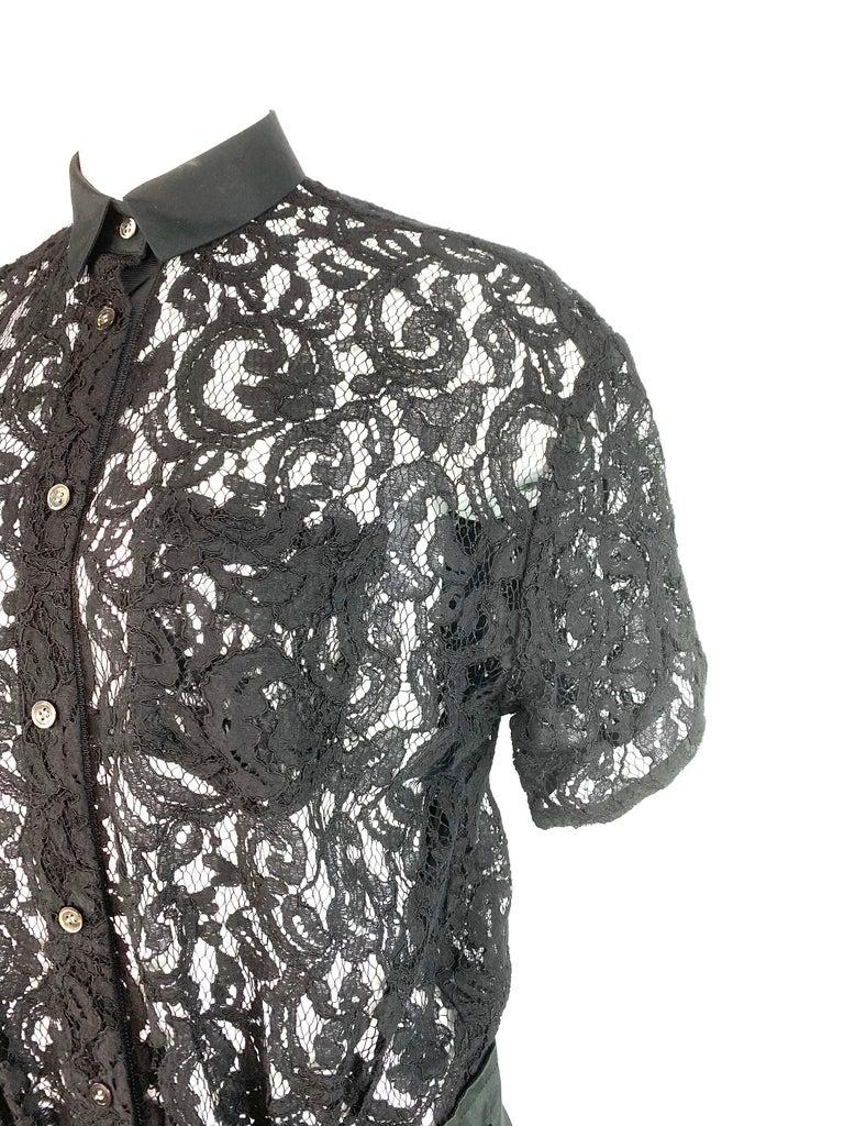 Sacai Luck Black Floral Lace Button- Down Shirt Wrap Mini Dress Size 3 For Sale 5