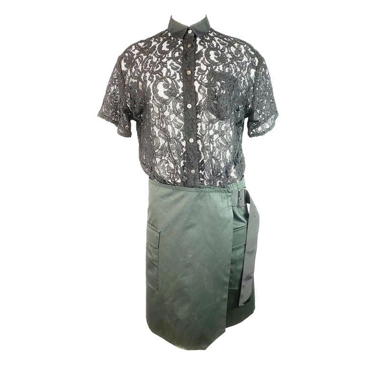 Sacai Luck Black Floral Lace Button- Down Shirt Wrap Mini Dress Size 3 For Sale
