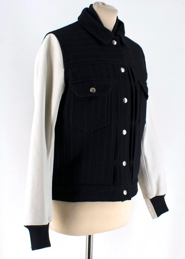 l-blend bomber jacket  - Pinstriped wool-blend bomber jacket  - Snap fastenings allow you to customise the fit - Midnight-blue and white wool-blend, off-white leather (Cow) - Snap fastenings through front  - 85% wool - 9% nylon - 3% cotton - 3%