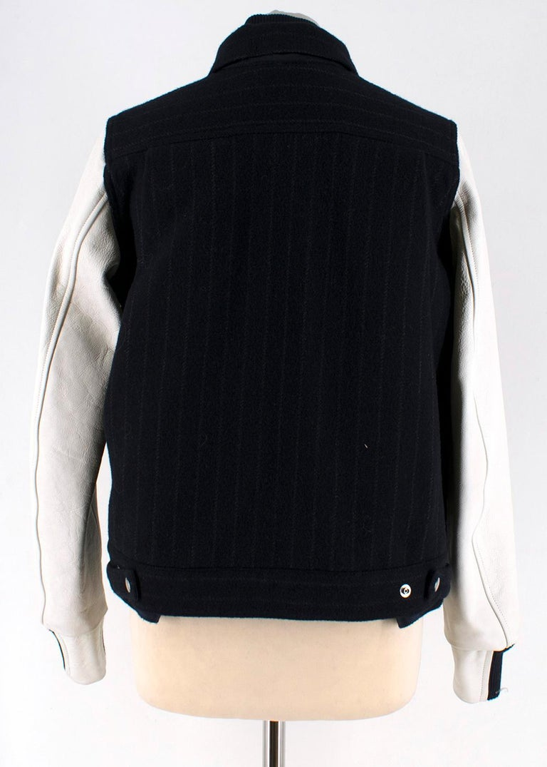 Black Sacai Luck leather-sleeved wool-blend bomber jacket XS For Sale