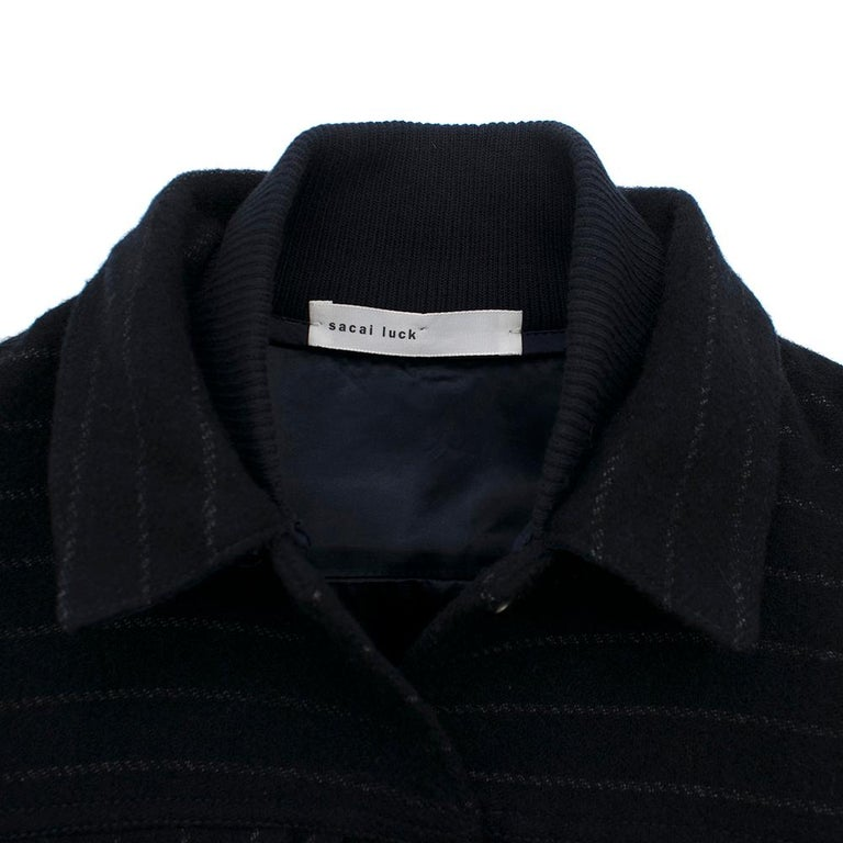 Sacai Luck leather-sleeved wool-blend bomber jacket XS In New Condition For Sale In London, GB