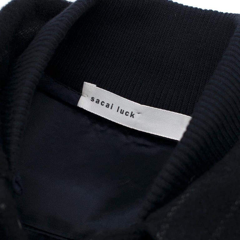 Women's Sacai Luck leather-sleeved wool-blend bomber jacket XS For Sale