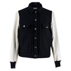 Sacai Luck leather-sleeved wool-blend bomber jacket XS