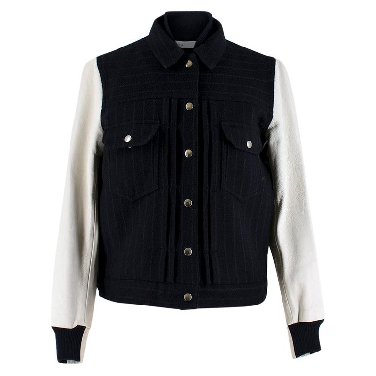 Sacai Luck leather-sleeved wool-blend bomber jacket XS For Sale