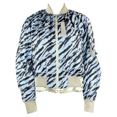 Sacai Luck Light Blue Zebra Striped Bomber Jacket Size 2
