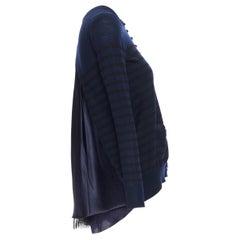 SACAI LUCK navy blue nautical stripe wool pleated insert flared back cardigan S