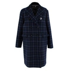 Sacai Navy Wool Double Breasted Check Coat - US Size 4
