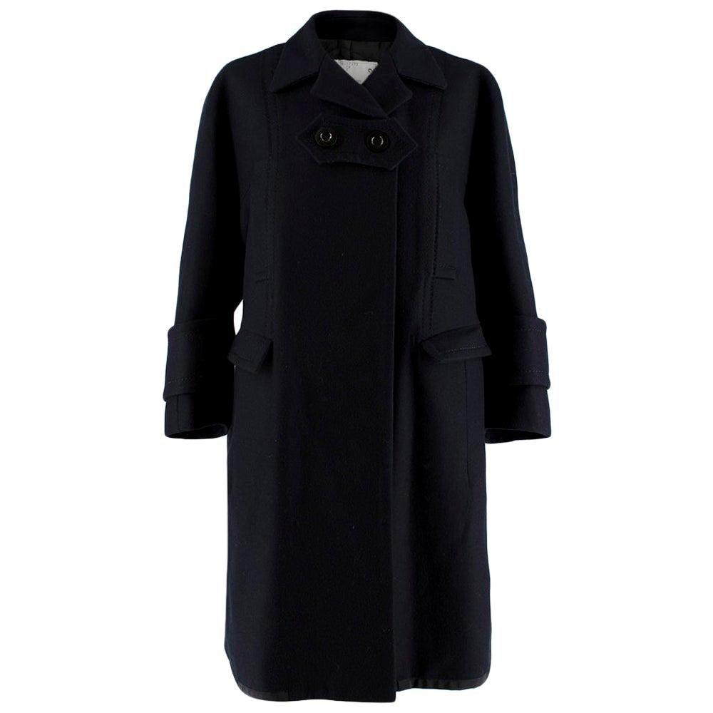 Sacai Navy Wool Double Vented Longline Coat - Size JPN 2 XXS