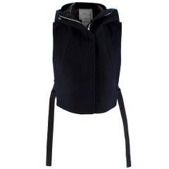 Sacai Navy Wool Hooded Zipped Sleeveless Jacket - Size US 4
