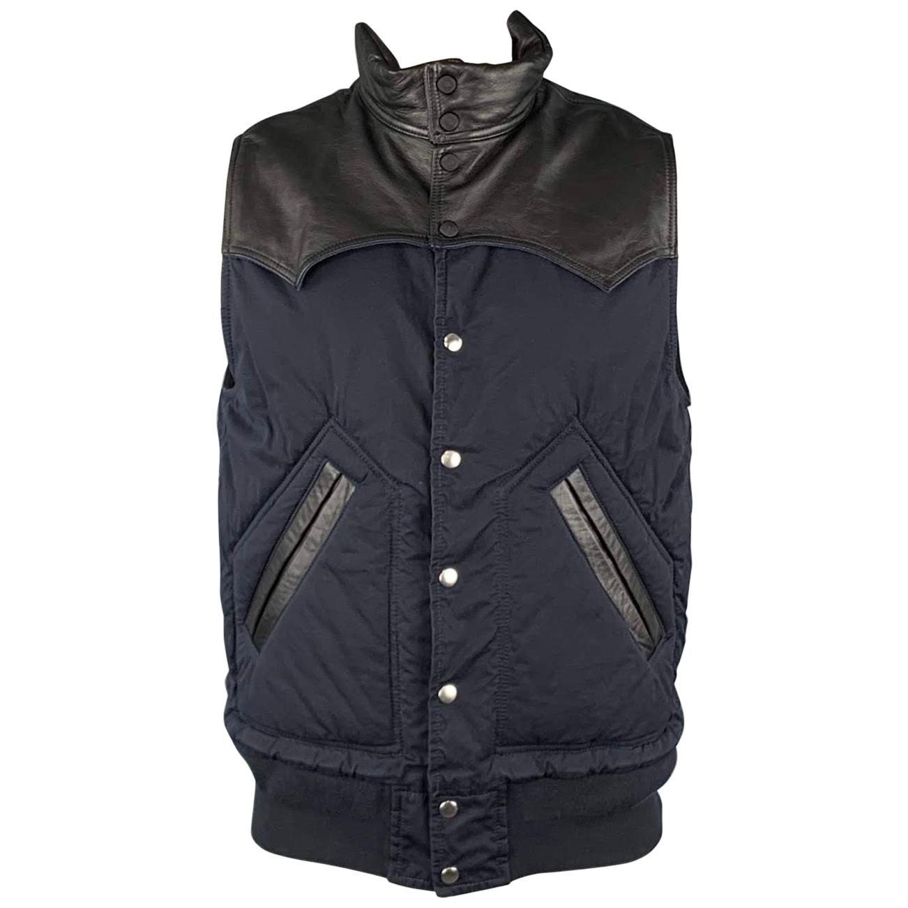 SACAI S Navy & Black Two Toned Cotton Blend Snaps Vest