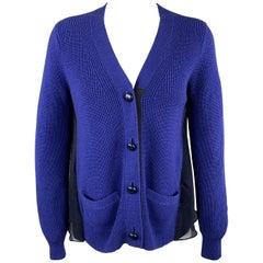 SACAI Size M Blue Chiffon Camisole Back Cardigan