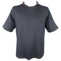 SACAI Size XL Navy & Purple Cotton / Nylon Short Sleeve T-shirt