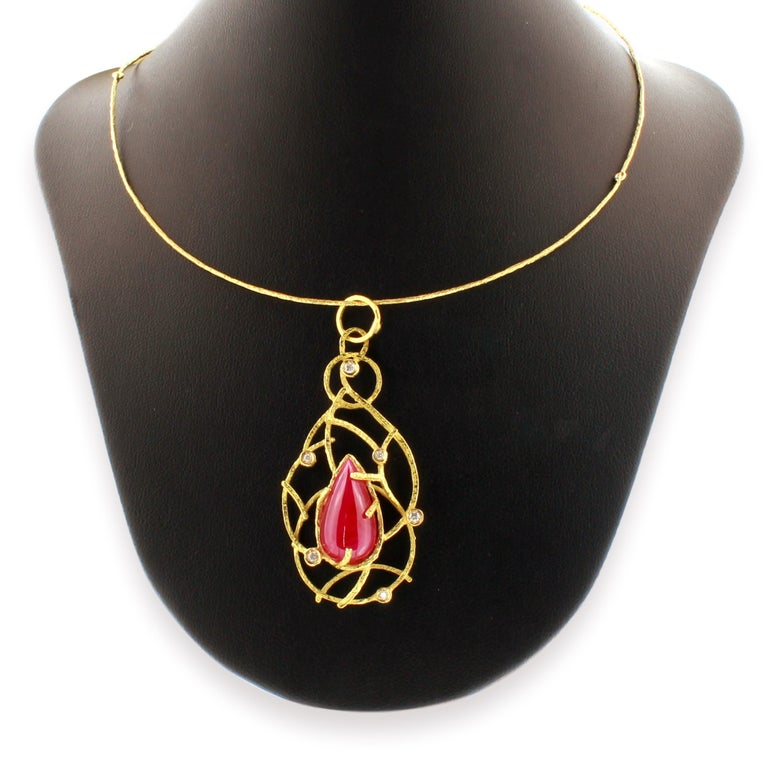 Sacchi 14.5 Carat Ruby and Diamonds Gemstone 18 Karat Gold Pendant Necklace For Sale 1
