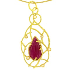 Sacchi 14.5 Carat Ruby and Diamonds Gemstone 18 Karat Gold Pendant Necklace