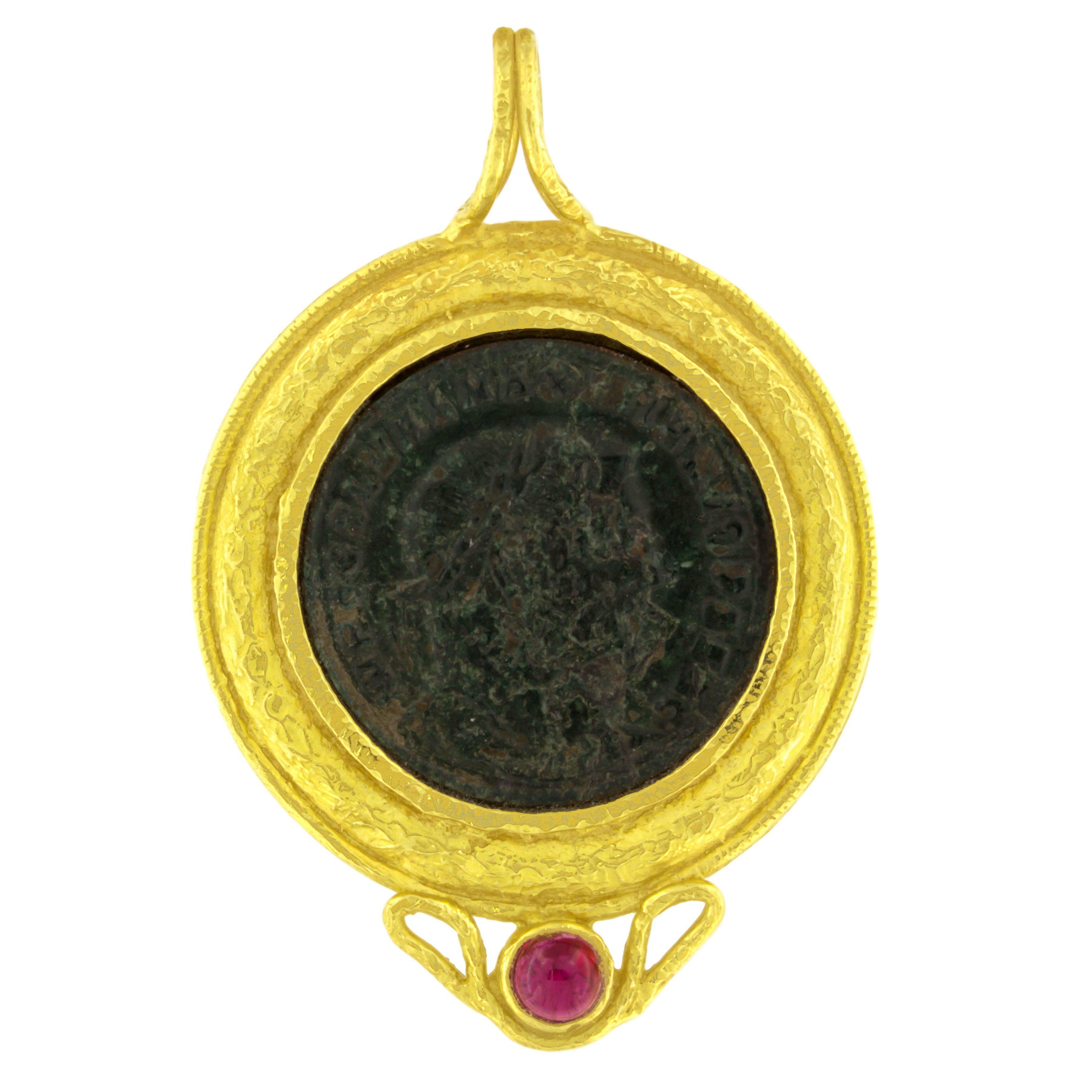 Sacchi Ancient Roman Coin and Tourmaline Gemstone 18 Karat Yellow Gold Pendant