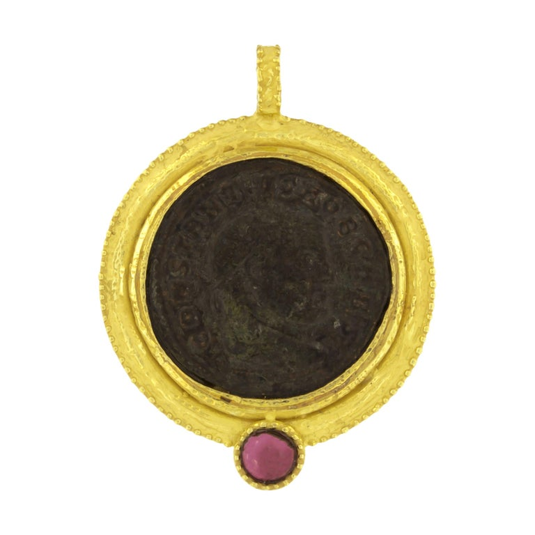 Sacchi Ancient Roman Coin and Tourmaline Gemstone 18k Yellow Gold Pendant For Sale
