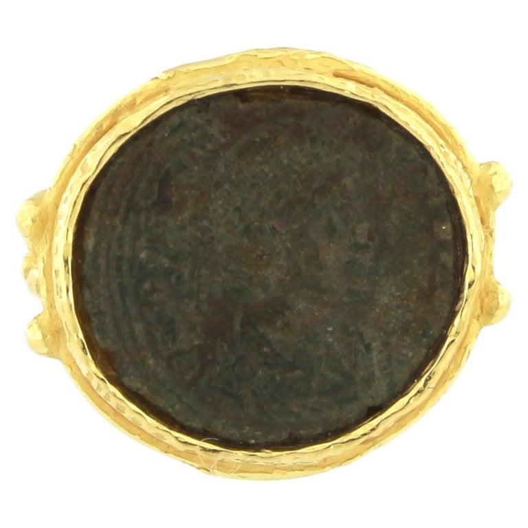 Sacchi Ancient Roman Coin Crossed Rope Ring 18 Karat Satin Yellow Gold 2