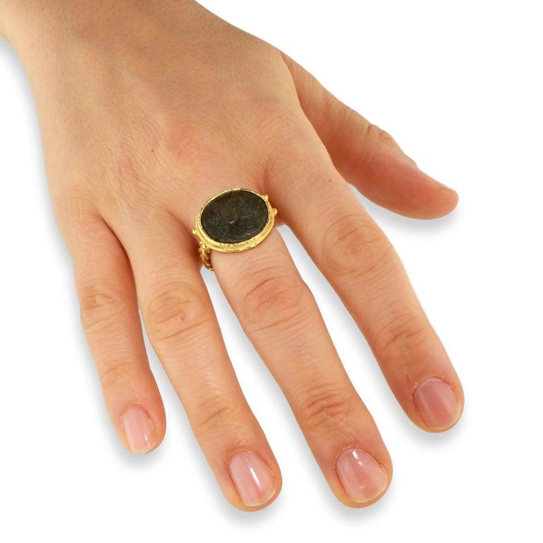 Sacchi Ancient Roman Coin Crossed Rope Ring 18 Karat Satin Yellow Gold 5