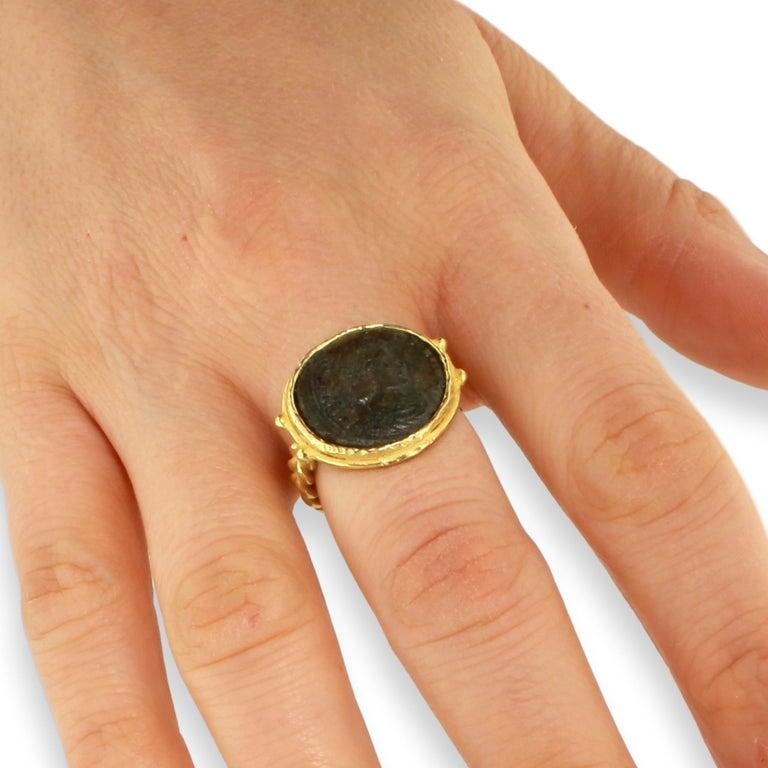 Sacchi Ancient Roman Coin Crossed Rope Ring 18 Karat Satin Yellow Gold 6