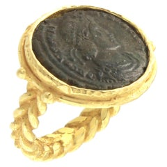 Sacchi Ancient Roman Coin Crossed Rope Ring 18 Karat Satin Yellow Gold