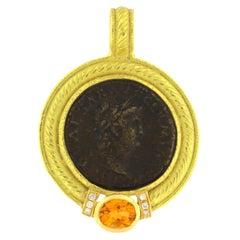 Sacchi Ancient Roman Coin Diamonds and Topaz Gemstone 18 Karat Gold Pendant