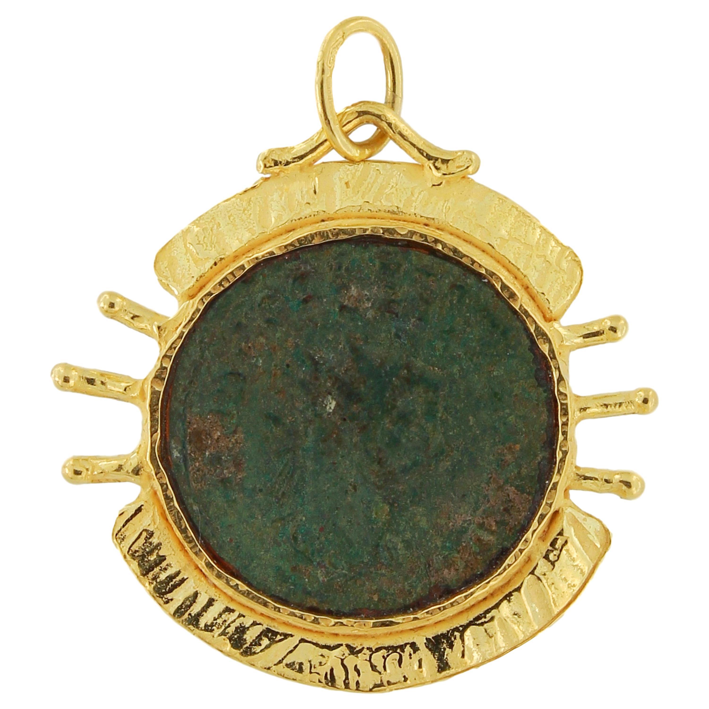 Sacchi Ancient Roman Coin Pendant 18 Karat Yellow Gold