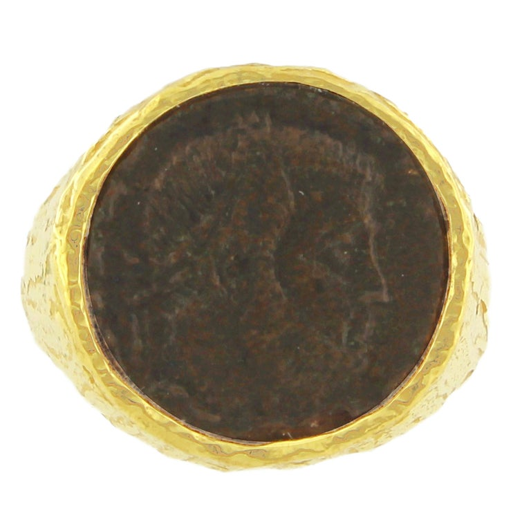 Ancient Roman Coin Band Ring in Satin Gold, from Sacchi's