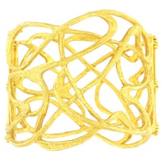 Sacchi Art Deco Wire Cuff Bracelet 18 Karat Satin Yellow Gold