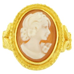 Sacchi Cameo Ring 18 Karat Satin Yellow Gold Roman Style