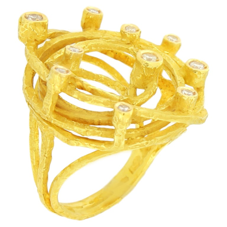 Lovely Diamonds Satin Yellow Gold Cocktail Ring, from Sacchi's