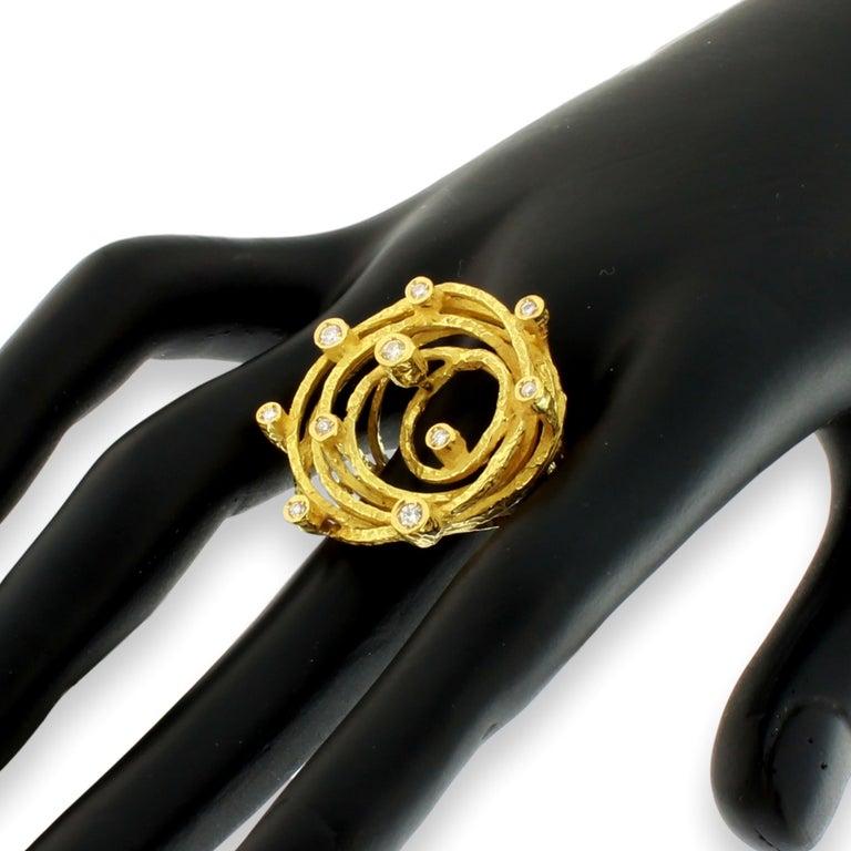 Women's Sacchi Diamonds Gemstone 18 Karat Satin Yellow Gold Cocktail Ring For Sale