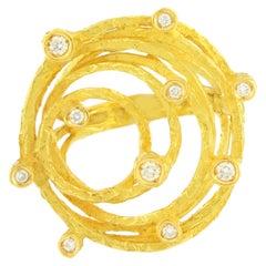 Sacchi Diamanten Edelstein 18 Karat Seide Gelbgold Cocktailring