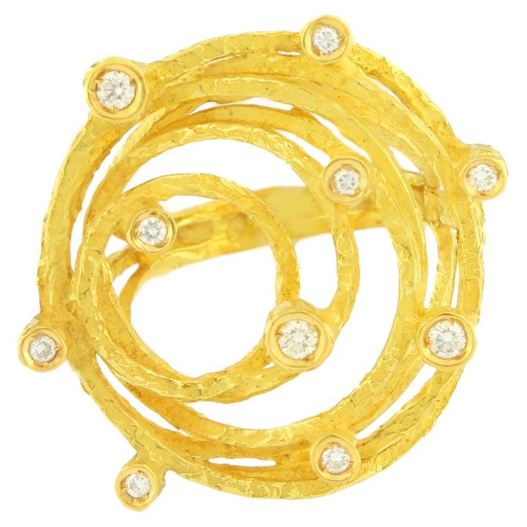 Sacchi Diamonds Gemstone 18 Karat Satin Yellow Gold Cocktail Ring For Sale
