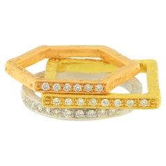 Sacchi Diamanten Dreifarbiger Stapelring 18 Karat Gelb-, Weiß- und Roségold