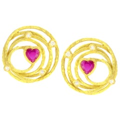 Sacchi Heart Ruby and Diamonds Gemstone 18 Karat Yellow Gold Earrings