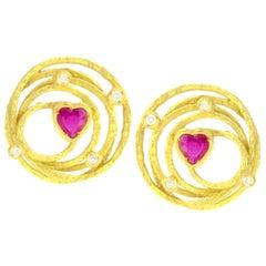 Sacchi Heart Ruby and Diamonds Gemstone 18 Karat Yellow Gold Earrings