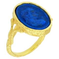 Sacchi Lapis Lazuli Cameo Ring 18 Karat Satin Yellow Gold