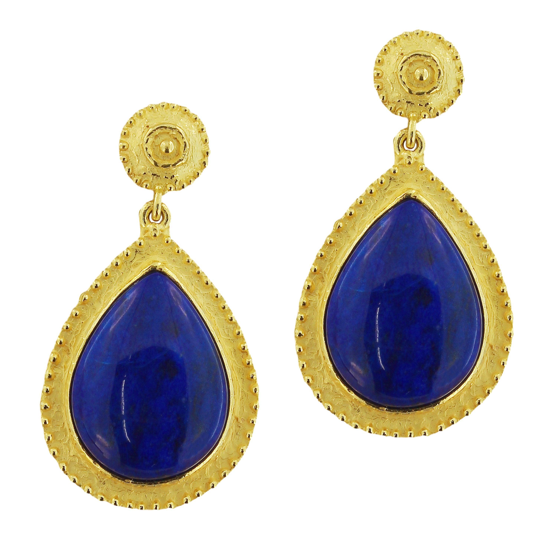 Sacchi Lapis Lazuli Drop Earrings 18 Karat Satin Yellow Gold