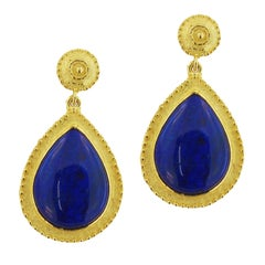 Sacchi Lapis Lazuli Drop Earrings 18 Karat Satin Yellow Gold