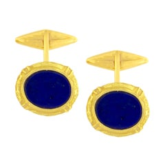 Sacchi Lapis Lazuli Gemstone 18 Karat Satin Yellow Gold Oval Cufflinks